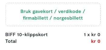 Klikk på den grønne teksten medBruk gavekort / verdikode / firmabillett / norgesbillett
